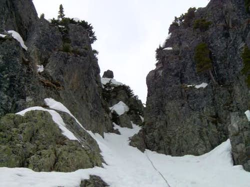 Rapping down the descent gully.