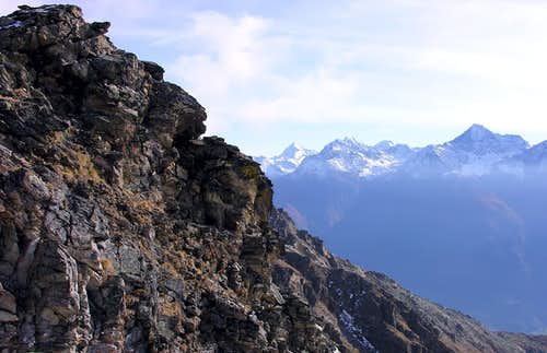 From Punta  Tersiva <i>3515m</i> to Mont Emilius<br> seen climbing Mont Mary <i>(2815m)</i>