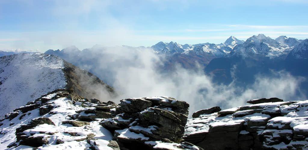 La Tersiva <i>(3515m)</i> in the far background<br> seen from Becca di Viou <i>(2856m)</i>