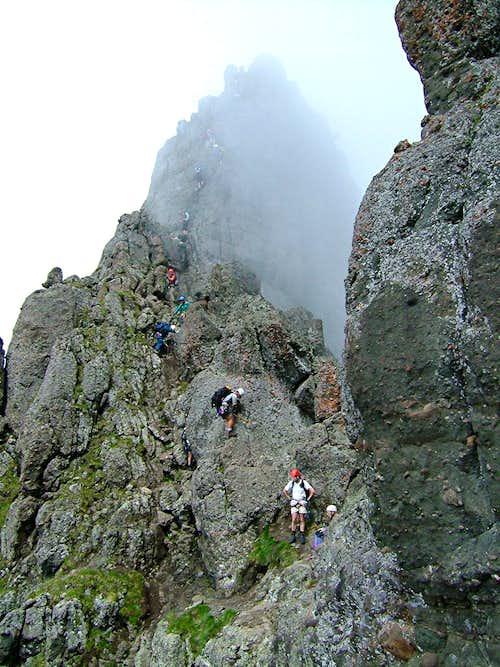 Climbers on la Mèsola