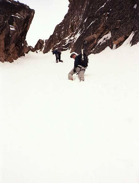 Climbing up the SW Couloir