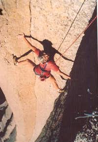 Frank Sanders on the 2nd Pitch of Psychic Turbulence. Devils Tower, Wyoming.
