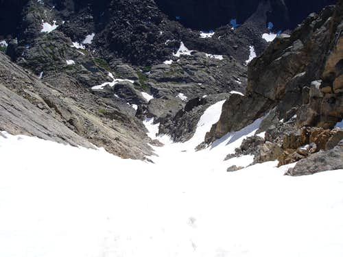 Looking down the Cross Couloir