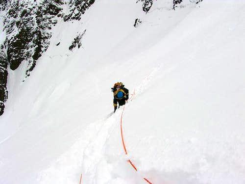 Snow plodding and hidden crevasses