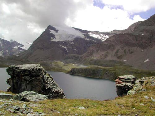Lac Rosset (and the smaller Lac Leità) dominated by Punta Basei <i>3338m</i>