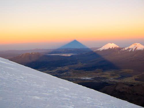 sajama´s shadow  at sunrise, near summit