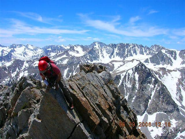 Mark Ingram on one of the knife edges (SE Ridge) near the summit of Mt. Emerson