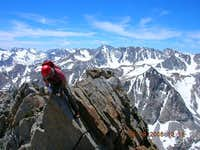 Mark Ingram on one of the knife edges (SE Ridge) near the summit of Mt. Emerson