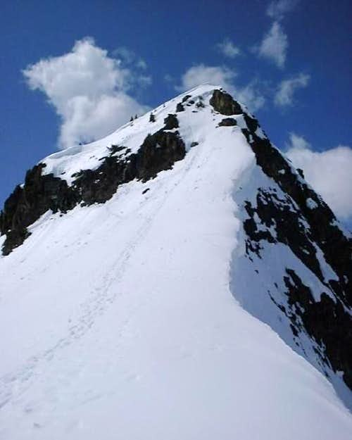Looking up at the summit of...