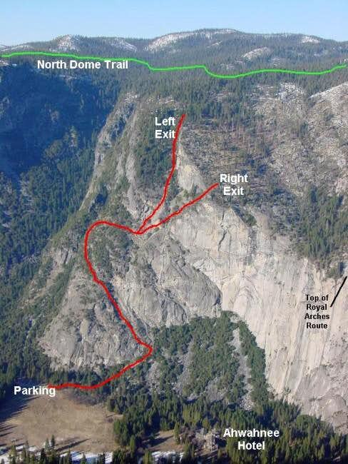 The Ahwahnee Ledges Route...