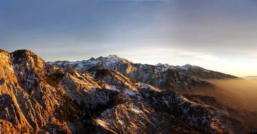 Sunset on Wasatch Front From Mount Olympus