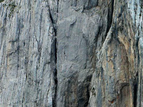 Extreme climbing on Fleischbank