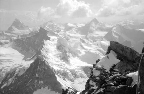 Weisshorn: View from top to...