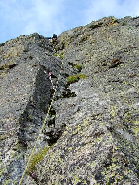 1st pitch on The Sharkstooth\'s Northeast Ridge