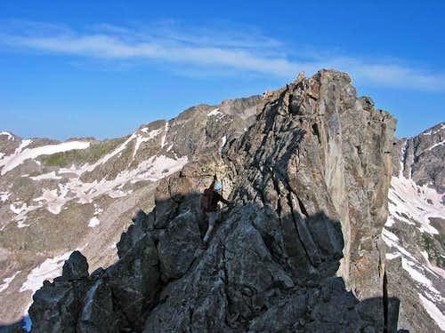 Scrambling on the ridge.
