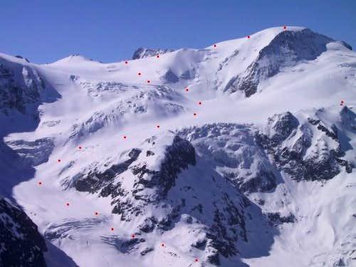 Gwaechtenhorn: ski route from...