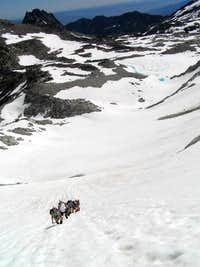 Ascending the Dragontail Glacier