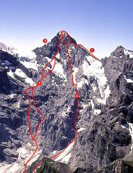 Gspaltenhorn routes visible...