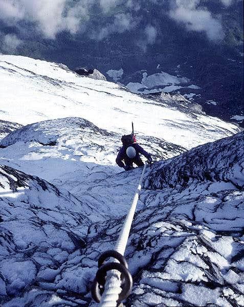 Mittellegi Ridge  in icy conditions