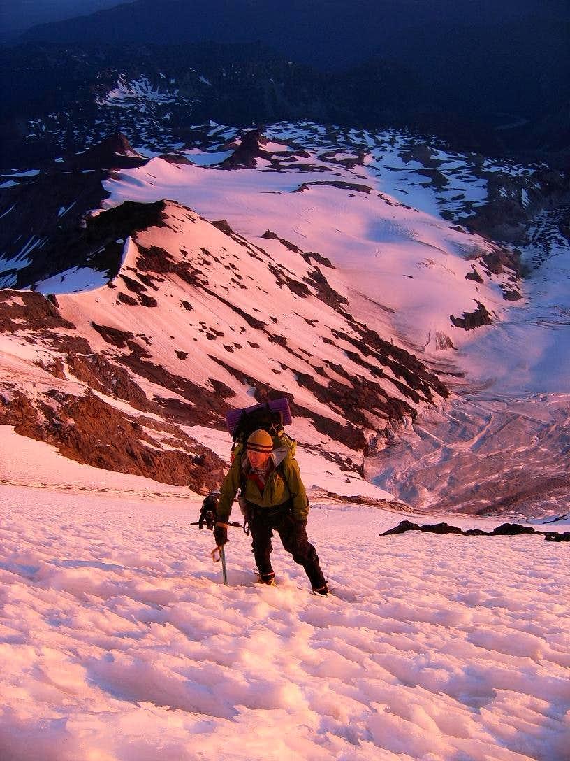 Alpenglow on Liberty Ridge