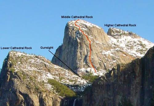 The NW Face route on Middle...