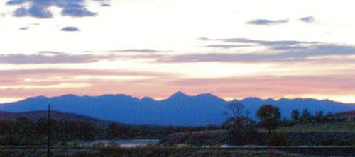 Crazy Mountains at Sunset
