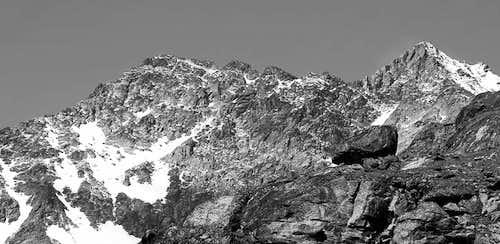 Punta di Laures (3367m) and Punta Rossa dell'Emilius (3401m), NE sides