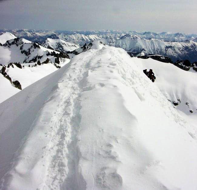 Narrow summit ridge of...