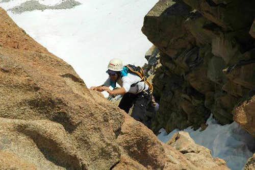 Miguel Forjan soloing the 5.4 headwall on Humphreys\' east arete