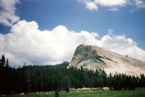 Clouds float over Lembert Dome