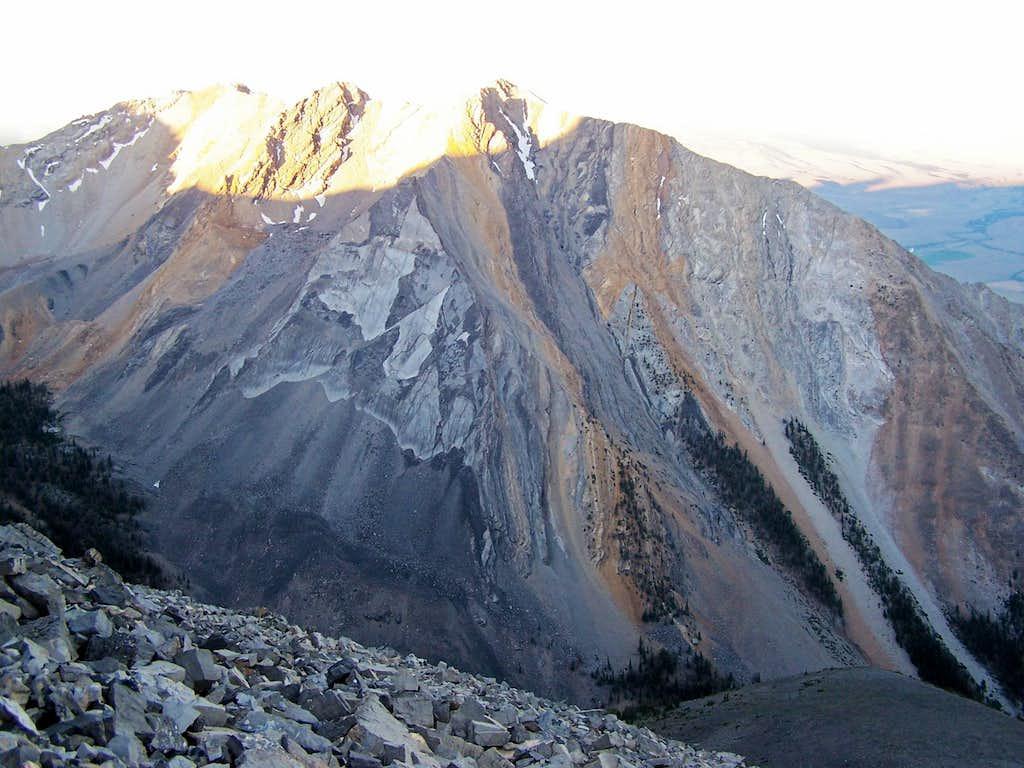 First Light on the peaks East of Borah