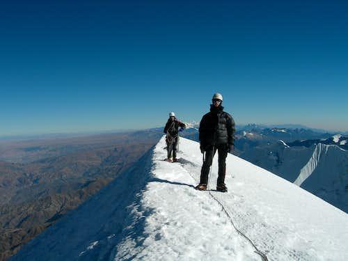 Final steps on the summit ridge - Adam and Ramiro