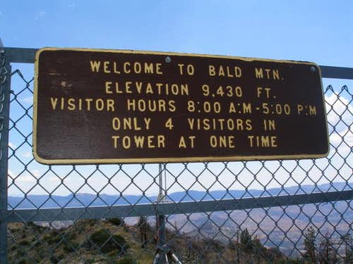 Bald Mtn Tower Sign
