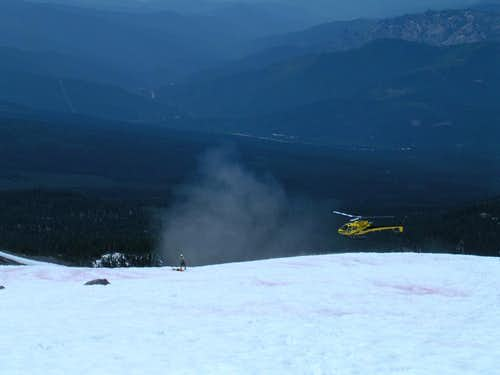 Rescue helicopter on Shasta