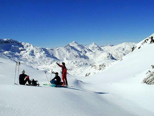 Tour skiing terrains over...