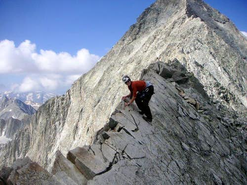Me traversing back across the Knife-Edge on our descent of Capitol Peak, July 23, 2006.
