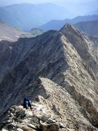 Mike climbing the upper ridge of Capitol Peak to the summit, July 23, 2006.