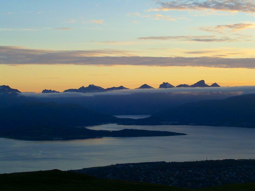 Peaks of Kvaløya at Midnight