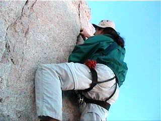 Climbing the summit block of...