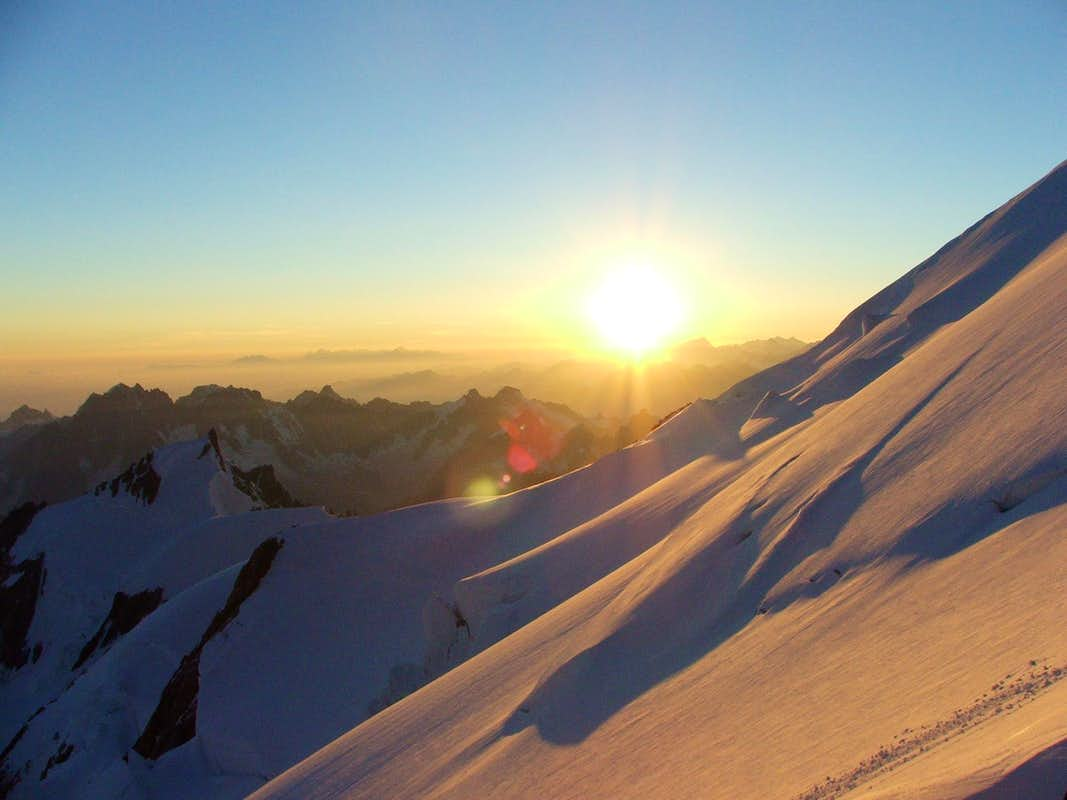 First sunrays on Mont Blanc