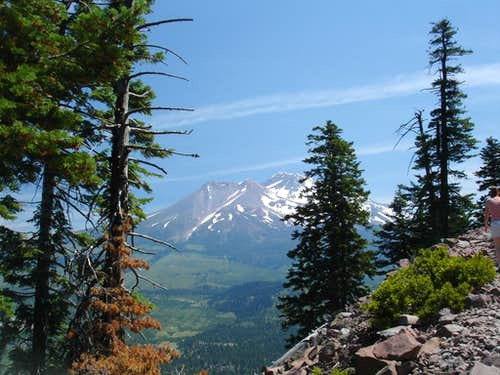 Multicolored view of Mount Shasta