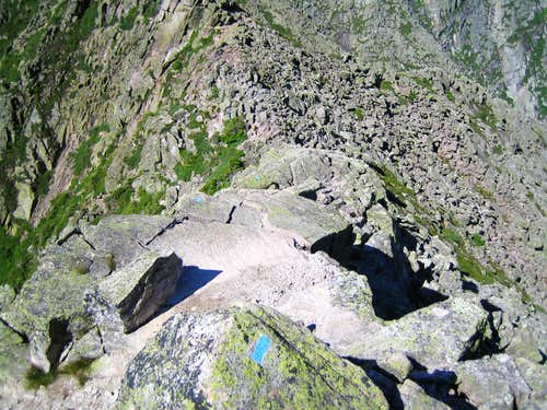 looking down on another narrow section