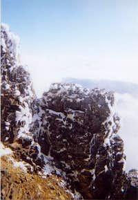 Icy rocks on the summit ridge