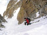 Skiing the U-Notch Couloir,...