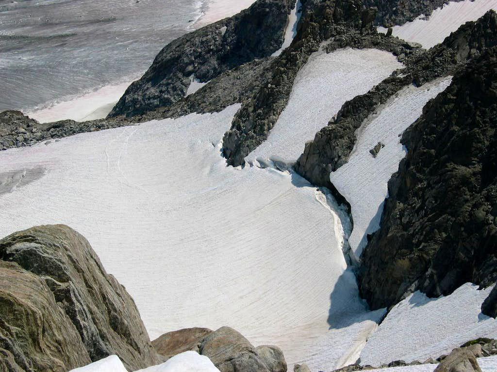 Bergshrund below Gooseneck Pinnacle