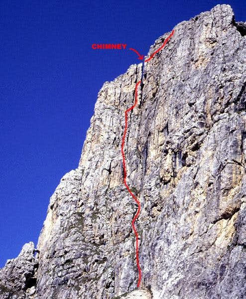 Kostner Route (III+), First Sella Tower