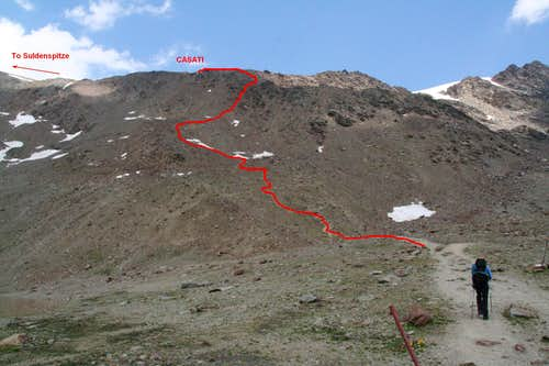 Route from Pizzini towards Rifugio Casati