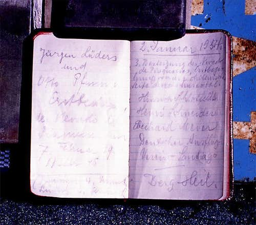 Summit log entry of first and third ascensionists