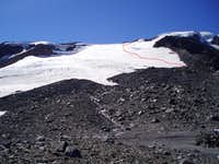 Approx. route up the Mazama Glacier ............