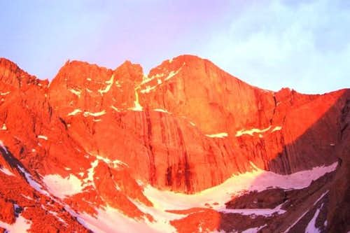 Sunrise on Long's East Face.